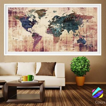XL Poster Push Pin World Map travel Art Print Photo Paper watercolor Old Wall Decor Home  (frame is not included) (P19) FREE Shipping USA!
