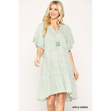 Gigio Apple Green Ditsy Floral Print Peasant Tiered Dress