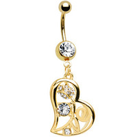 Eternal Love Gold Heart Dangle Belly Ring | Body Candy Body Jewelry