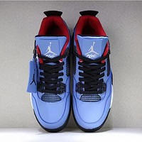 NIKE AIR JORDAN 4 Suede Trending Men Stylish Sport Shoes Sneakers Blue