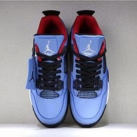 NIKE AIR JORDAN 4 Suede Trending Men Stylish Sport Shoes Sneakers Blue I-AA-SDDSL-KHZHXMKH
