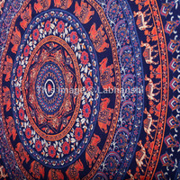 Blue Hippie Hippy Wall Hanging , Indian Mandala Tapestry Throw Bedspread , Dorm Tapestry , Decorative Wall Hanging , Picnic Beach Sheet