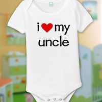 i love my uncle  Funny Baby One Piece Bodysuit Romper in White