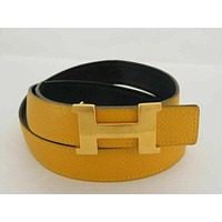 100% Auth HERMES YELLOW NAVY LEATHER REVERSIBLE CONSTANCE H BELT SIZE 65
