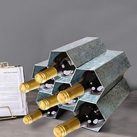 Galvanized Metal Tabletop Wine Rack with 6 Honeycomb Design Bottle Storage, Gray By Casagear Home