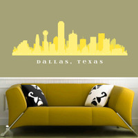 """Dallas TEXAS Skyline Wall Decal Art Fabric Stick n peel Repositionable Decal 50"""" x 15"""" Living Room City and State Decals"""