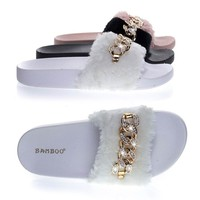 Flatter16 White By Blossom, Furry Slip On Slipper Footbed Molded Platform & Rhinestone Metal Chain