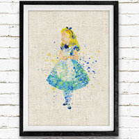 Alice in Wonderland Disney Watercolor Art Poster Print, Baby Girl Nursery Decor, Kids Room Decor, Not Framed, Buy 2 Get 1 Free!