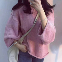 Pullover Long Sleeve Knitted Sweater