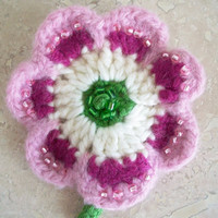 Pink Felted Flower Pin Brooch Hand Beaded Flower Jewelry Boho Retro Romantic