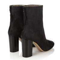 Solid Color Pointed Toe Back Zipper High Chunky Heel Ankle Boots