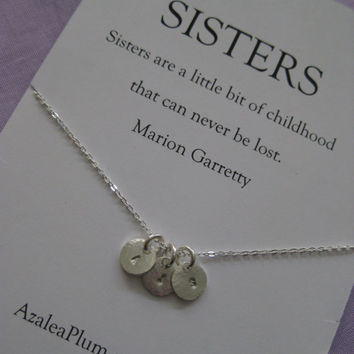 Sisters jewelry // Sisters necklace // Three sisters jewelry. Delicate sterling silver // 4 sisters. Four Sisters Necklace