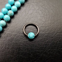 """16g (1.2mm) 5/16"""" Black Turquoise Stone Captive Bead Ring Small Nostril Hoop Daith Helix Ring Tragus Cartilage Septum Lip Stainless Steel"""