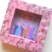 "Pink and Grey splatter 3.5"" x 3.5"" picture frame for home decor"