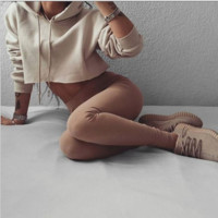 Causal Hooded Crop Top sweater B0014716