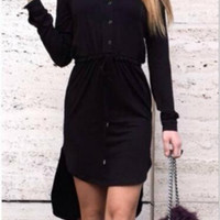 Dovetail Knit Drawstring Shirt Dress 13215