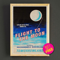Vintage Tomorrowland Flight to the Moon Disneyland Attraction Poster Reprint Home Wall Decor Gift Linen Print - Buy 2 Get 1 FREE - 375s2g