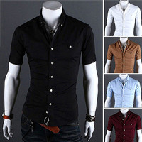 Tabbed Pocket Short Sleeve Dress Shirt