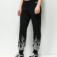 Vans Checkerboard Flame Black Sweatpants | Zumiez