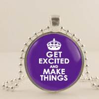 """Get Excited and make things, purple,  1"""" glass and metal Pendant necklace Jewelry."""