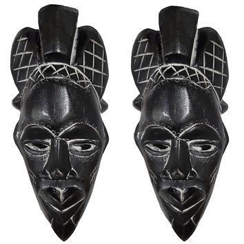 "2 Pieces of 12"" African Wood Mask: Black"