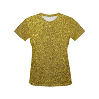 Gold Glitter All Over Print T-Shirt for Women (USA Size) (Model T40) | ID: D2066672