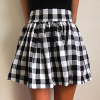 checked pattern high waisted puff skirt with wide by CodyFarrago