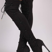 Liliana Elastane Fitted OTK Peep Toe Stiletto Boots