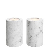 White Marble Candle Holders 2 | Eichholtz Tobor S