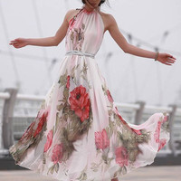 White Floral Halter Sheath Belted A-Line Pleated Maxi Dress