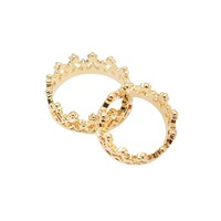 Perfect Heart Crown Ring and Midi Fashion Ring Set