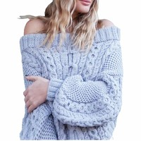 2017 Autumn Winter Sexy Off Shoulder Pullover Sweater Women Knitted Thick Casual Loose Short Crop Sweater Pull Femme A8314