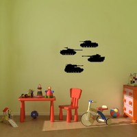 Wall Vinyl Decal Sticker Art Design Set of Military Tanks for Baby Boy Nursery Room Nice Picture Decor Hall Wall Chu588