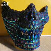 Festival Holographic Green Mermaid Scale Skull Mask Drag Queen Costume Gogo Dancer Accessories