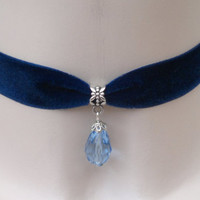 Pale BLUE Glass Faceted Teardrop Charm Bead - Navy BLUE 16mm Velvet Ribbon Choker Necklace -tb... lots more colour options, made to size :)