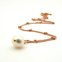 Rose gold pearl necklace, ivory pearl solitaire pendant, rose gold jewelry, June birthstone necklace, white pearl pendant, freshwater pearl