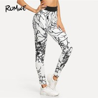 Romwe Sport Multicolor Casual Sporty Graphic Print Skinny Leggings 2018 Gym Outdoor Girl Leggings Workout Jogging Yoga Pants