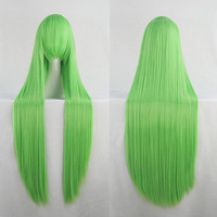 Anime Cosplay Wig 100cm Long Straight Long Fringe Grass Green Wig Heat Resistant Free Shipping