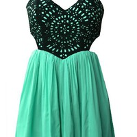 Green Sleeveless Dress with Sweetheart Patchwork Top