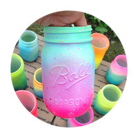 Neon Pink Ombre Galaxy Mason Jar - Hand Painted - Super Unique One of a Kind Spring Bright Colors