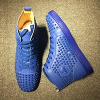Cl Christian Louboutin Louis Spikes Mid Style #1810 Sneakers Fashion Shoes - Best Online Sale