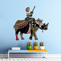 Rhino Wall Decals Full Color African Safari Colorful Floral Patterns Flowers Wall Vinyl Decal Stickers Bedroom Nursery