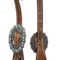 Saddles Tack Horse Supplies - ChickSaddlery.com Showman Hair-On-Cowhide & Turquoise Stones One Ear Headstall & Reins Set