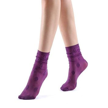 Marella Polka Sheer Mid High Sock | Purple
