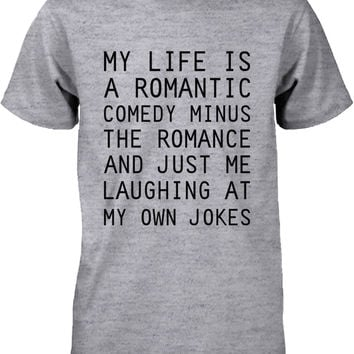 Funny Graphic Tees - Romantic Comedy Men's Grey Cotton T-shirt