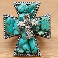 M&F Western Products Inc Turquoise & Crystal Cross Stretch Ring