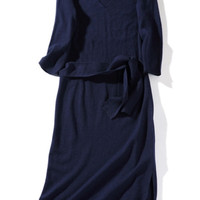 Blue Casual Knitted Midi Dress with Waist Belt