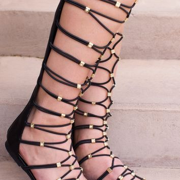 Goddess Gladiator Sandals - Black
