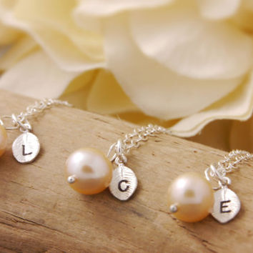 Bridesmaid Gift Set of 2 to 10 - personalized jewelry, initial necklace, pink pearl necklace, bridesmaid necklace, silver necklace, BR
