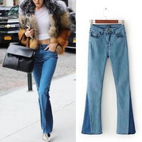 Women's Fashion Patchwork Boot Cut Slim Denim Pants [10399082573]
